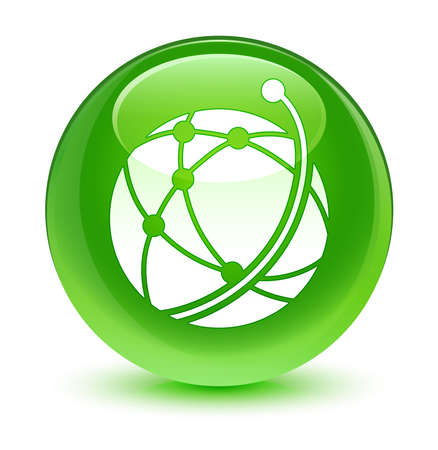 green button: Global network icon glassy green button