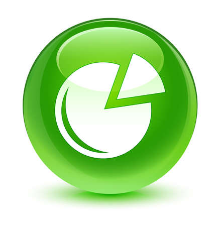green button: Graph icon glassy green button Stock Photo
