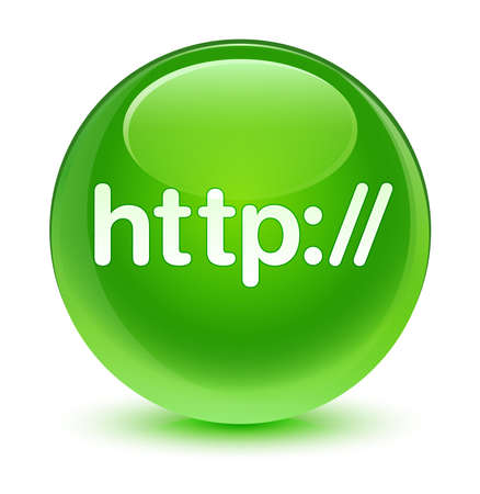 http: Http glassy green button Stock Photo