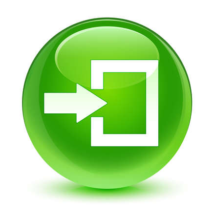 login icon: Login icon glassy green button
