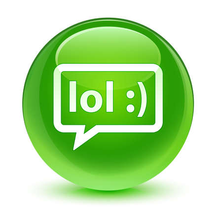laughing out loud: LOL bubble icon glassy green button Stock Photo