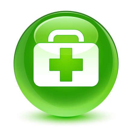 first aid kit: Icono malet�n bot�n verde vidrioso