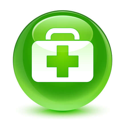 first aid box: Medical bag icon glassy green button