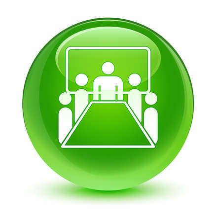 green button: Meeting room icon glassy green button Stock Photo