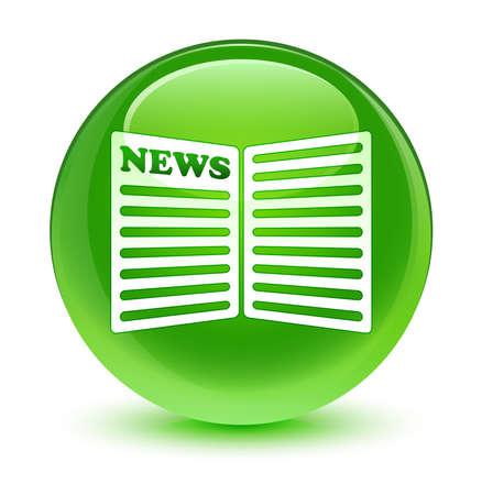 newspaper icon: Newspaper icon glassy green button