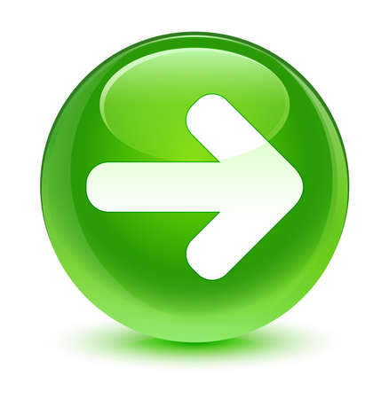 move ahead: Next arrow icon glassy green button