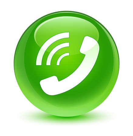 mobile operators: Phone ringing icon glassy green button Stock Photo