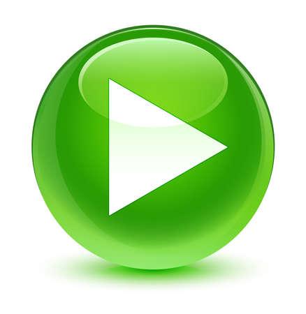 Play icoon glazige groene knop Stockfoto