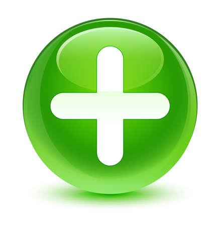 green plus: Plus icon glassy green button Stock Photo