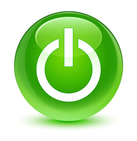 green power: Power icon glassy green button Stock Photo