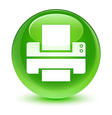 Printer icon glassy green button