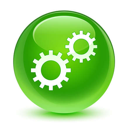 preference: Process gears icon glassy green button