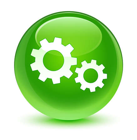 green button: Process icon glassy green button