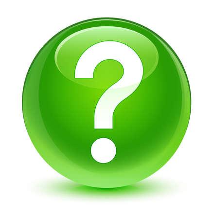 Question mark icon glassy green button Stock Photo