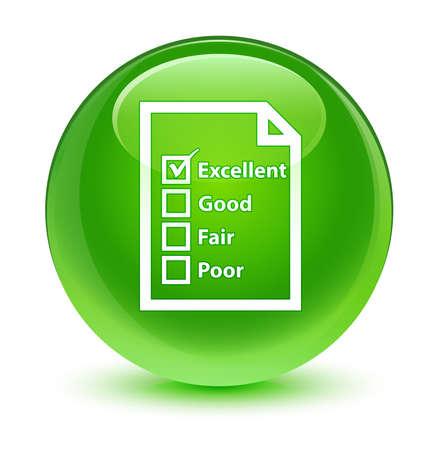 green button: Questionnaire icon glassy green button