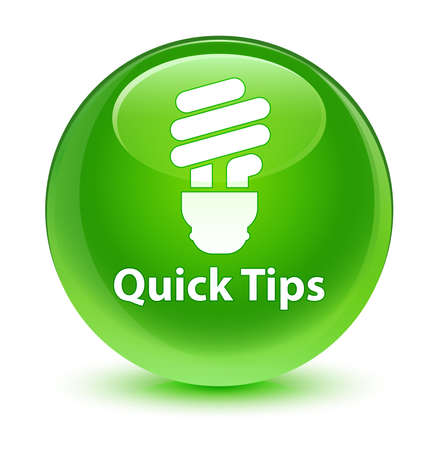hints: Quick tips (bulb icon) glassy green button