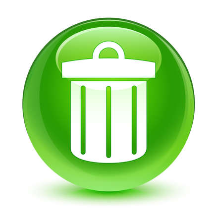 green button: Recycle bin icon glassy green button Stock Photo