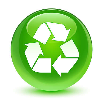 echo: Recycle icon glassy green button