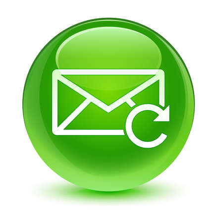 Refresh email icon glassy green button photo