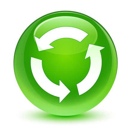 refresh icon: Refresh icon glassy green button Stock Photo