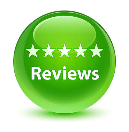 Reviews glassy green button Stock Photo