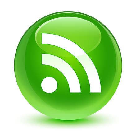 rss icon: RSS icon glassy green button Stock Photo