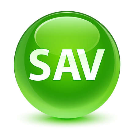 green button: SAV glassy green button Stock Photo