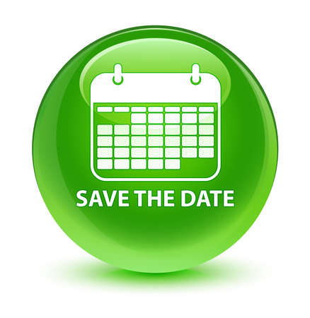 Save the date glassy green button Stock Photo