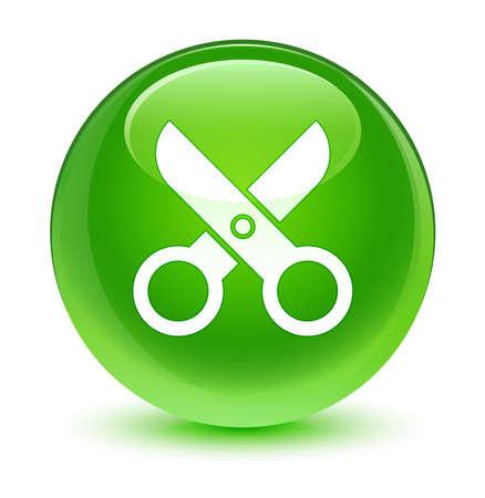 green button: Scissors icon glassy green button