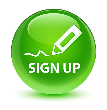 sign up: Sign up glassy green button Stock Photo