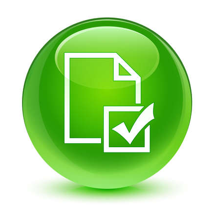 web survey: Survey icon glassy green button