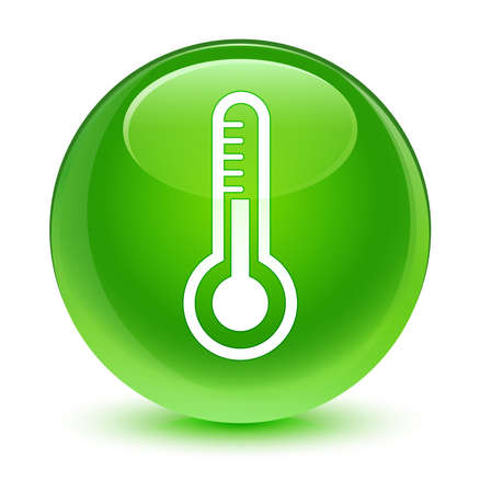 green button: Thermometer icon glassy green button