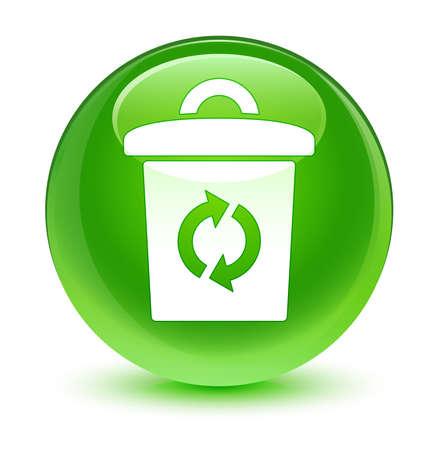 Trash icon glassy green button photo