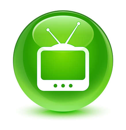 tv station: TV  icon glassy green button Stock Photo