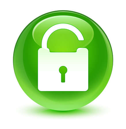 defend: Unlock padlock icon glassy green button