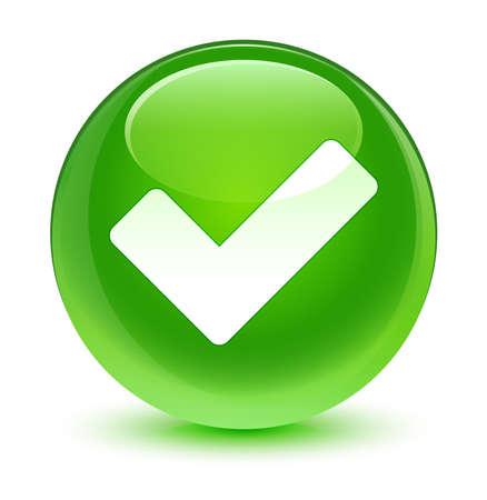 Validez l'icône bouton vert vitreux