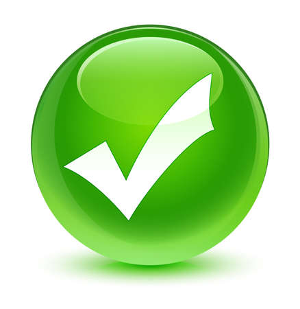 validation: Validation icon glassy green button Stock Photo