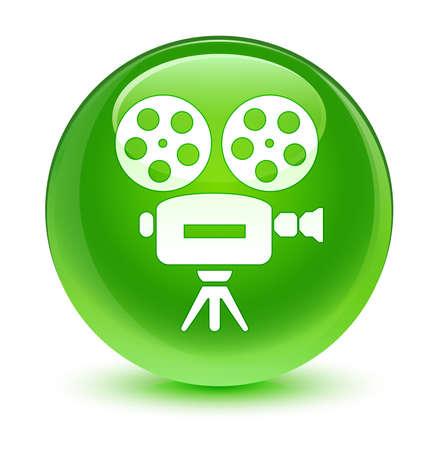 video camera icon: Video camera icon glassy green button