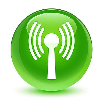 wlan: Wlan network icon glassy green button