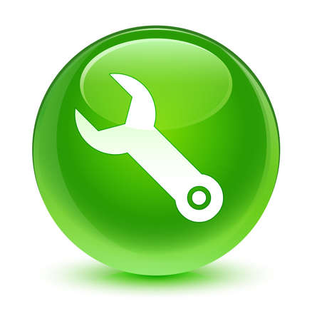 control tools: Wrench icon glassy green button