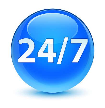 blue button: 247 icon glassy blue button