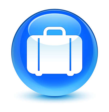 packing suitcase: Bag icon glassy blue button Stock Photo