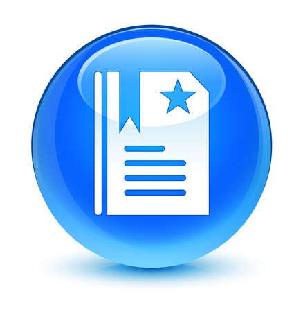 Bookmark icon glassy blue button