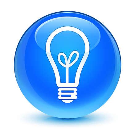 blue button: Bulb icon glassy blue button
