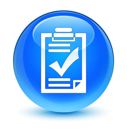 valid: Checklist icon glassy blue button Stock Photo