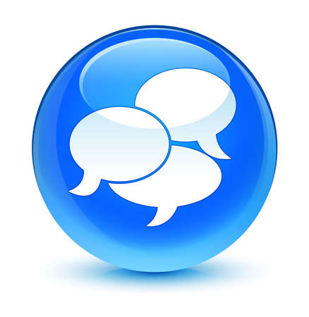 comments: Comments icon glassy blue button Stock Photo