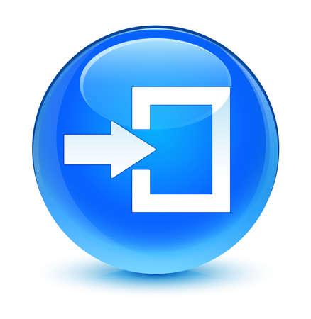 Login icon glassy blue button photo