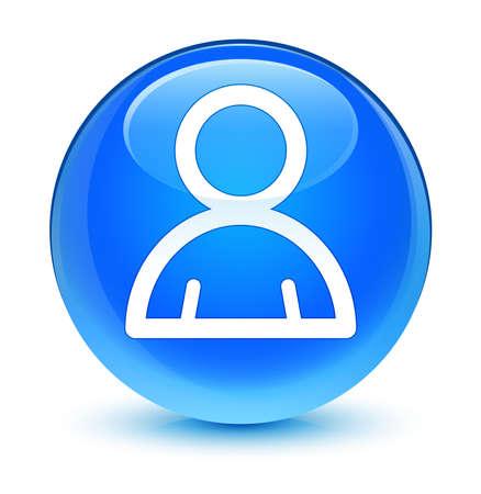 Member icon glassy blue button photo