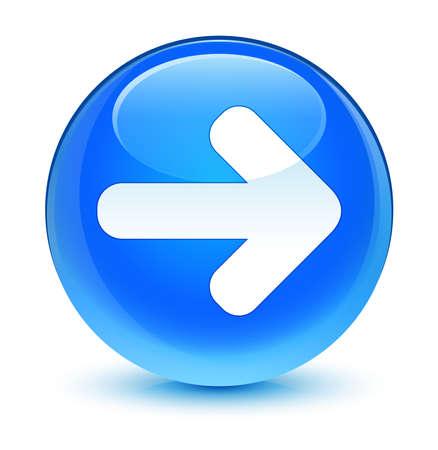 go forward: Next arrow icon glassy blue button