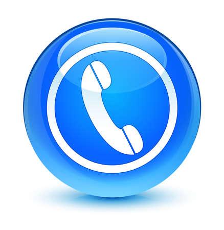 mobile operators: Phone icon glassy blue button